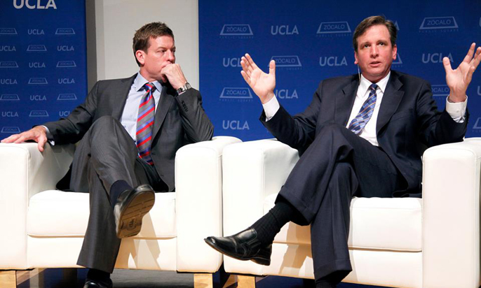 Covering the NFL for the L.A. Times has placed La Cañada High School graduate Sam Farmer in some pretty heady company, whether sitting on a discussion panel with former Dallas quarterback Troy Aikman (above), climbing a mountain with Commissioner Roger Goodell (below) or chatting up Denver quarterback Peyton Manning at practice (right).