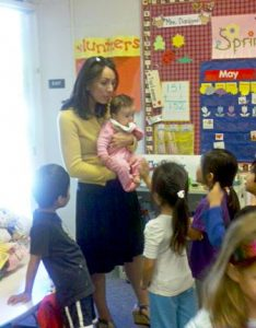 Christine Castillo visited a classroom with daughter Alissa soon after she was born.
