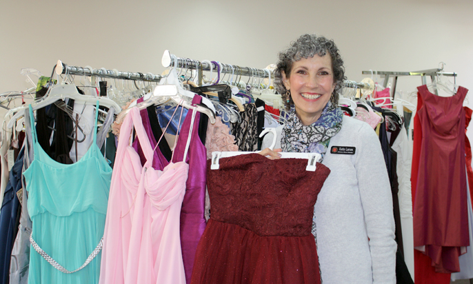 Photo by Merin McDonald / OUTLOOK Salvation Army Advisory Board member Kathy Larson has participated in the Prom Dress Giveaway since its inception eight years ago. This year, organizers received 700 donated dresses from bridal boutiques, local schools and community volunteers.