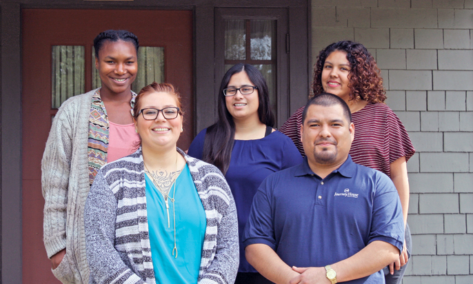 Photo by Merin McDonald / OUTLOOK Yahniie Bridges, Lucero Noyola, Patty Cabanillas, Gabby Hendriksen and Jesse Aguiar are all former foster youth who've found a new beginning at Journey House, a nonprofit that supports emancipated youth who have aged out of the foster care system.