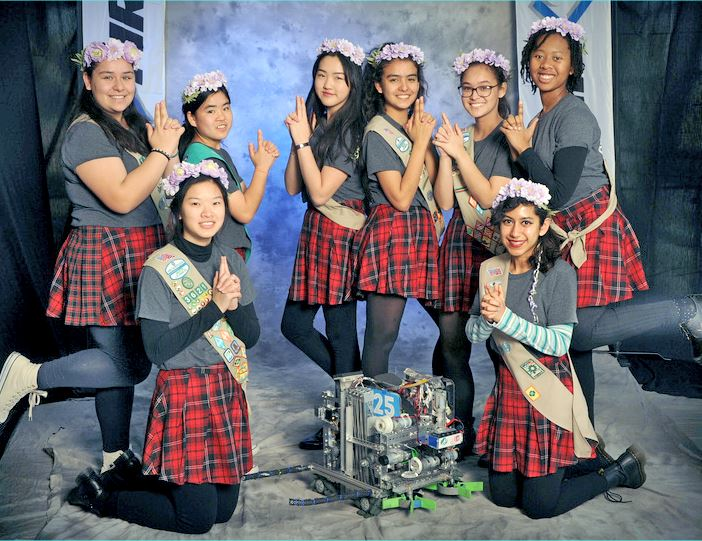 Photo courtesy Renee Heinrichs The area Girl Scouts team headed to the FIRST Tech Challenge world championships includes (in alphabetical order) Kemi Ashing-Giwa, Katelyn Biesiadecki, Maddie Braun, Breanna Chan, Britney Gallego, Desiree Gunnoe, Bella Heinrichs, Renee Heinrichs and Elizabeth Wu.