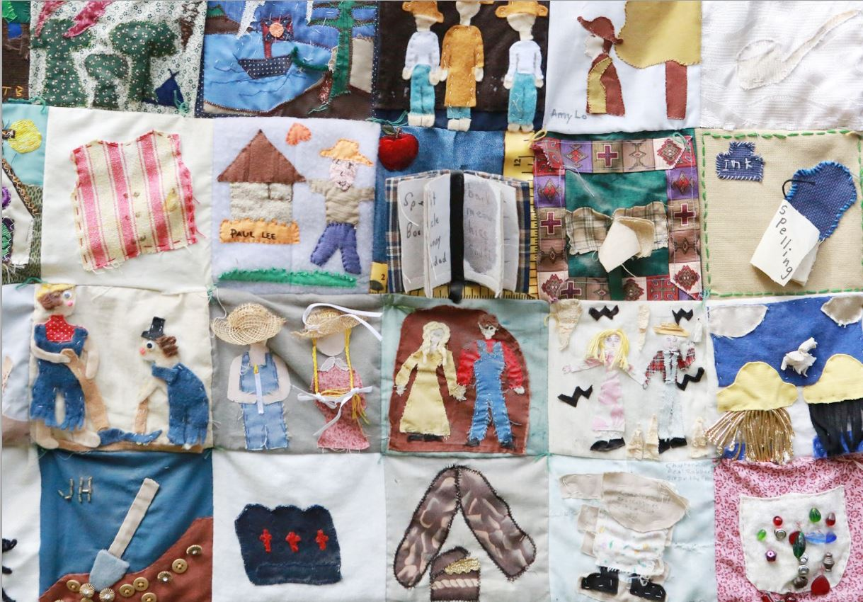 "Photos courtesy Judi Healey Almost every school year, Judy Healey's 6th-graders worked on quilts inspired by ""The Adventures of Tom Sawyer"" such as this one, which was made by her class in 2000. The quilts are for sale now, with proceeds going to the Palm Crest Elementary PTA."