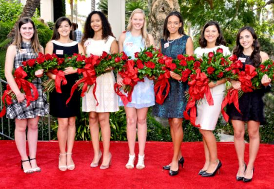 Photo courtesy Tournament of Roses Association Members of the 2018 Royal Court are Julianne Lauenstein, La Cañada High School; Sydney Pickering, Arcadia High School; Savannah Bradley, Pasadena High School; Georgia Cervenka, LCHS; Lauren Buehner, AHS; Isabella Marez, La Salle High School; and Alexandra Artura, Flintridge Sacred Heart Academy.