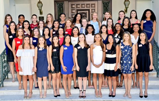 Photo courtesy Tournament of Roses Association Before the final round of interviews, 37 finalists for the 2018 Royal Court gathered on the front steps of Tournament House. Seven of these young women were chosen on Oct. 2. The Tournament of Roses' Queen and Court Committee made its selections based on a number of criteria including poise, speaking ability, academic achievement, youth leadership, and community and school involvement. Finalists are (front row, from left) Ashley Mayo, La Salle High School; Katherine Beggs, Westridge School; Alexandra Artura, Flintridge Sacred Heart Academy; Christine Echevarria, Pasadena High School; Heidi Silk, Maranatha High School; Bethany Easton, Mayfield Senior School; Elizabeth Chang, San Marino High School; Amalia Christodoulelis, Flintridge Sacred Heart Academy; and Hannah Franco, Mayfield Senior School. Second row: Jillian Carmenate, Pasadena High School; Julianne Lauenstein, La Cañada High School; Jennifer Wang, Arcadia High School; Ella Ancheta, Polytechnic School; Isabella Marez, La Salle High School; Trinity Moore, Maranatha High School; Sydney Pickering, Arcadia High School; Jayasri Krishnakumar, Flintridge Preparatory School; and Siena Giljum, Westridge School. Third row: Sarah Johnson, Polytechnic School; Mia Valencia, Flintridge Sacred Heart Academy; Jacqueline Gevorgian, La Cañada High School; Carly Horne, La Cañada High School; Emma Marcussen, Mayfield Senior School; Katharine Winschel, Mayfield Senior School; Mary Harmon, La Salle High School; and Elyse Reed, Pasadena City College. Back: Lauren Dundee, Laurel Springs; Zobria Brown, Blair High School; Alina Giapis, Polytechnic School; Grace Carey, Polytechnic School; Lauren Buehner, Arcadia High School; Savannah Bradley, Pasadena High School; Georgia Cervenka, La Cañada High School; Elizabeth Shepherd, Polytechnic School; Lauren Goedde, Polytechnic School; Madeline Tupy, Mayfield Senior School; and Samantha James, John Marshall Fundamental High School.
