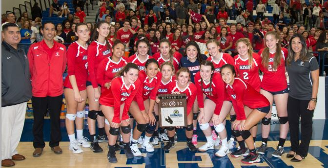 Photo courtesy Eric Danielson The La Salle High School varsity girls' volleyball team finished as the CIF Southern Section runner-up after falling to Sierra Canyon of Chatsworth in four sets. The team, which posed with its fans, includes Stephanie Stiver (front row, from left), Chloe Howell, Abby McKiernan, Natalie Gohrick, Claire Forrest and Victoria Ashkinos. Back: Assistant coaches Angel Ramirez and Stephen Bernabe, Sophia Anderson, Sofia Sanchez, Tamia Cephus, Alessandra Perez, Elizabeth Harrity, Vanessa Ramirez, Devon Nardoni, Natalie Gohrick, Carly Kejmar and head coach Tiare Tuitama.