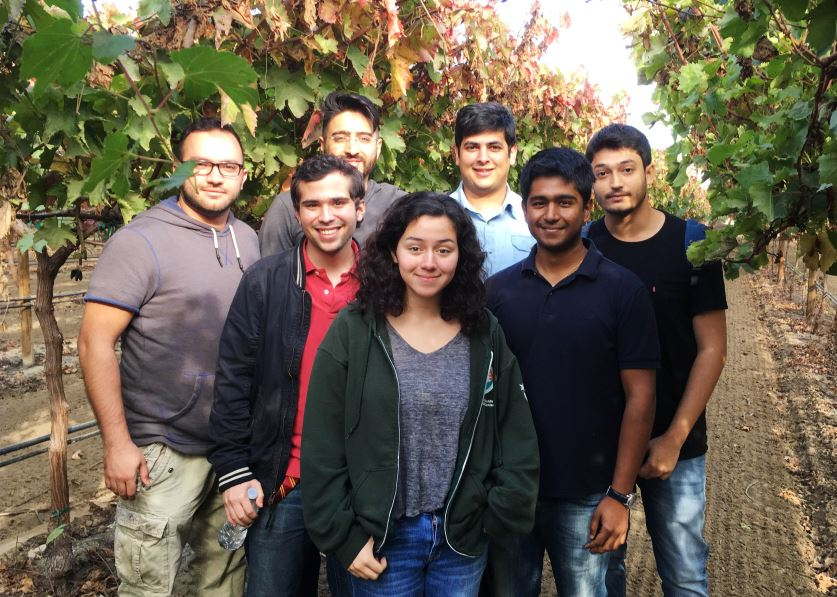 Photo courtesy Faith Florez Members of the Calor app team visited the Central Valley, including (from left) Shobhit Agarwal, Juan Andrade, Marko Djuliarso, Faith Florez, Basir Navab, Viraj Sahai and Vahagen Sinanian. After developing a system to send heat warnings to farmworkers, they're raising funds at startsomegood.com/calorapp to convert a web-based platform into an app for the Apple watch.