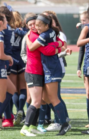 Photo courtesy Eric Danielson Flintridge Prep captains Lindsey Uteda and Caitlin Fong celebrate the program's first CIF Southern Section championship.