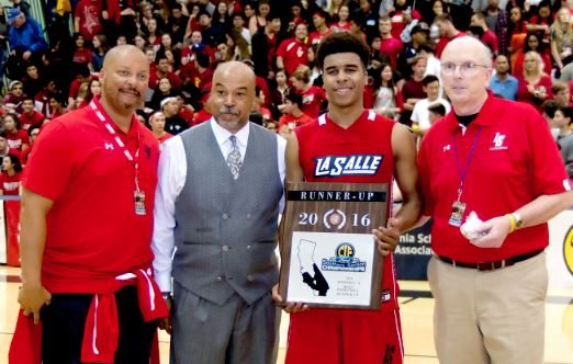 Photo courtesy Eric Danielson La Salle Athletic Director Anthony Harris (left), pictured with boys' basketball coach Mike Lynch and former Lancer Christian Oyie-Little, announced he will be leaving La Salle in June after seven years.