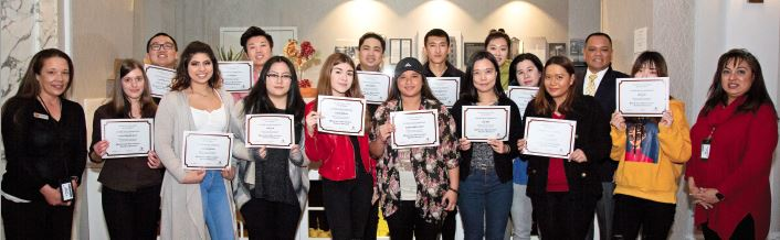 Photo courtesy PCC Pasadena City College Hospitality Management Program students recently graduated, following a unique collaboration with Singpoli and Hotel Constance. Robert Soriano and Ivy Frazier played key roles in the program's success.