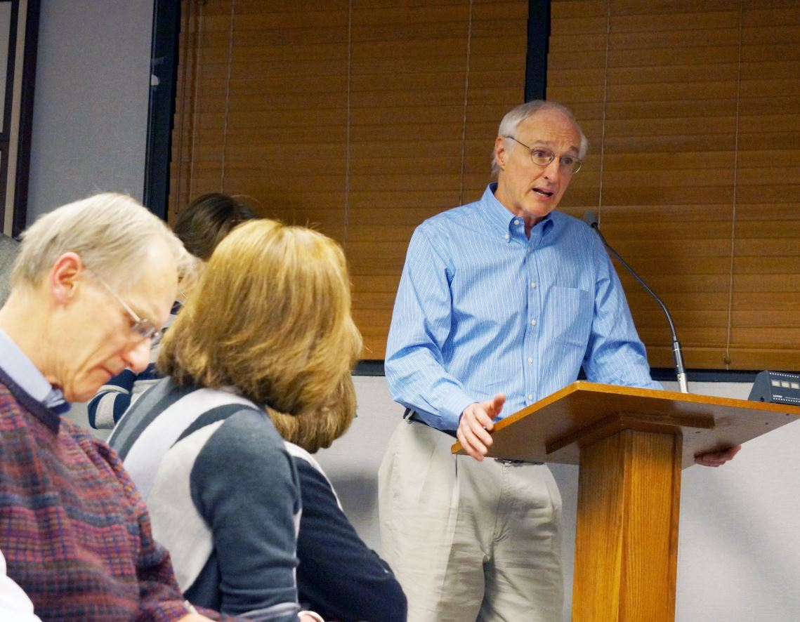Outlook Photo Michael Gross speaks at a Planning Commission meeting on the proposed Oakmont Senior Living facility slated for construction in his neighborhood.