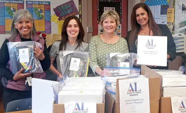 "Extending a partnership to provide ""School Supplies for Success"" are (from left) Stella Francoallen (Eliot Arts Magnet Academy), Michelle Chino (Assistance League of Pasadena), Lorraine Schield (Assistance League of Pasadena) and Maricela Borough (Washington STEAM Magnet Academy)."