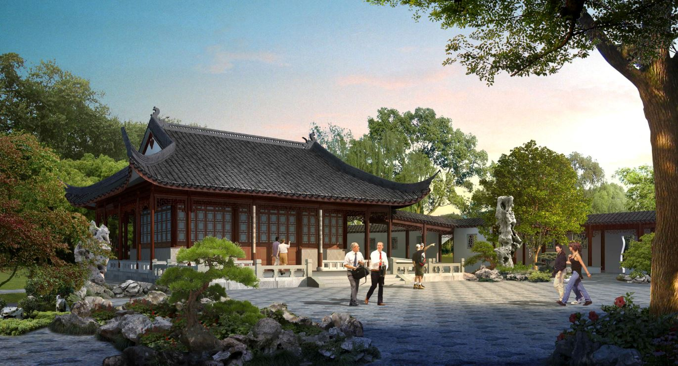 Image courtesy the Huntington Library This rendering shows what will be the Flowery Brush Library at the Huntington Library's Chinese Garden.