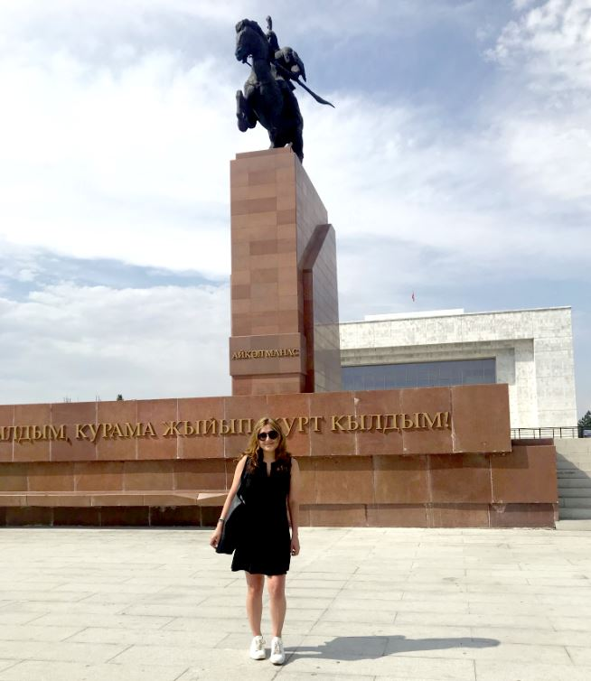 Photo courtesy Nicole Grajewski Nicole Grajewski, a 2011 San Marino High School graduate, stands in front of Kyrgyz mythical hero Manas in Ala-Too Square in Bishkek, Kyrgyzstan, where she is studying Russian as part of her doctoral studies with the University of Oxford. She is there as a Rotary International Global Grant Scholarship recipient.