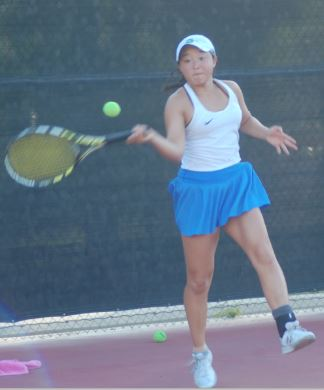 Photo by Oscar Areliz / OUTLOOK Anessa Lee won three singles sets in the Titans' 10-8 quarterfinal loss to host Thousand Oaks Westlake on Monday.