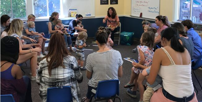 Nanette Brown instructs her La Cañada Presbyterian Church parent education program toddlers class on Sept. 27. The program is celebrating its 40th anniversary.