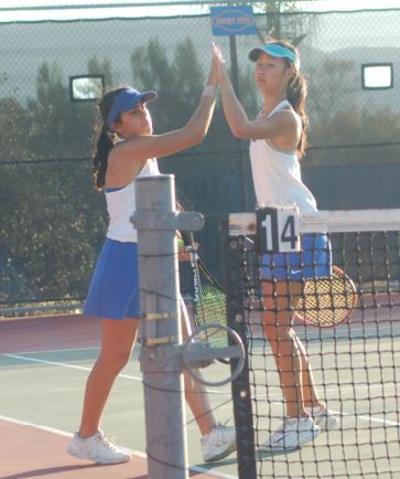 Photo by Oscar Areliz / OUTLOOK Rakel Ang and Caitlin Nguyen won two of three doubles sets in San Marino's CIF-SS Division 1 quarterfinal at Westlake on Monday.