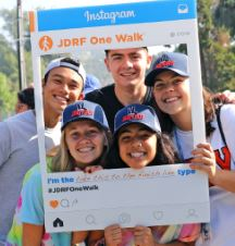 Photo courtesy Meghan Stimmler Taylor Stimmler (far right) rallied friends to join her last year at the JDRF L.A.'s One Walk to help raise money for Type 1 diabetes research. Her team, the Injectibles, includes (front) Martha Gluck and Shaya Naimi. Back: Cameron Carey and Jack Deschenes.