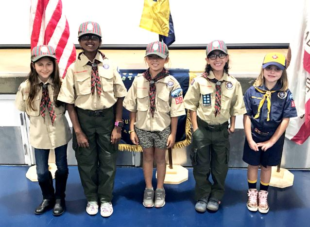Photos by Wes Woods II / OUTLOOK Chance Szebelledy, Aditi Iyer, Jessica Seo, Bella Castano and Maggie Cripps are the first girl Cub Scouts in Pack 515.