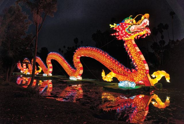 Photos courtesy Marlyn Woo / Joanne Wilborn The Arboretum, in collaboration with Tianyu Arts & Culture Inc., is putting on its first-ever Chinese lantern festival, featuring such displays as this soaring dragon over the garden's Baldwin Lake.