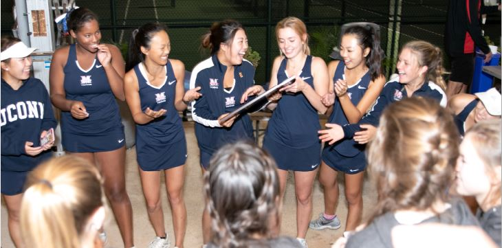 Photo courtesy Tom McGuinness The Maranatha High School varsity girls' tennis team rejoices after defeating Woodcrest Christian and receiving its first CIF-SS championship since 2014.