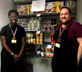 OUTLOOK photo Pasadena City College's Lancer Pantry supplies food to students in need so that more of them can enjoy good nutrition. Student worker Xavier DuBose and food pantry coordinator Nick Tobin keep the shelves stocked.