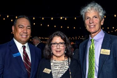 Ed Malicdem, Arboretum Foundation Trustee Diane Grohulski and Arboretum CEO Richard Schulhof attend the festival's launch party.