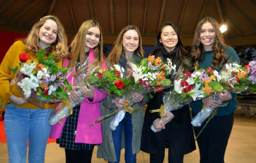 Photo by Mary Emily Myers / OUTLOOK The five selected to the 2019 Royal Court for Miss La Cañada Flintridge at the Festival in Lights event are Kat Hightower, Audrey Raulli, Sarah Peck, Sophie Lin and Francesca Christensen.