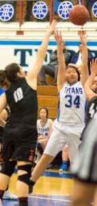 San Marino guard/forward Emily Ting grabbed two rebounds in the Titans' win last Tuesday.