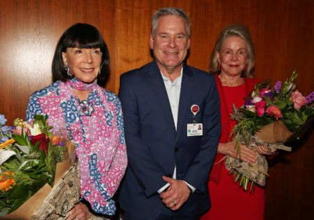 Photo courtesy Kenneth Selko Artist Gayle Garner Roski, USC Verdugo Hills Hospital CEO Keith Hobbs and artist Kitty Keck spoke at a reception for the hospital's Healing Arts Exhibition.