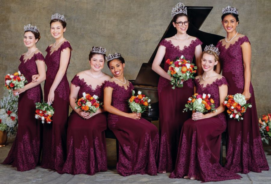Photos courtesy Tournament of Roses This year's Rose Court included Helen Rossi (from left), Sherry Ma, Micaela McElrath, Ashley Hackett, Queen Louise Siskel, Lauren Baydaline and Rucha Kadam.