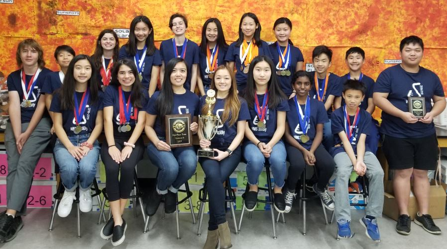 Photo by Zane Hill / OUTLOOK The Huntington Middle School Science Olympiad Team placed first in this year's county regional competition and will enter the state competition in April. The team includes Nora Chang (front row, from left), Bethany Ang, adviser Cynthia Wong, adviser Suzanne Nitta, Olivia Wang, Aparna Venkat and Leo Feng. Back: Sean Killackey, Sebastian Liong, Elsa  Panning, Katie Lui, Lillian Panning, Sophia An, Audrey Jung, Helena Wu, Aaron Ong, Berwyn Phan and coach David Zheng.