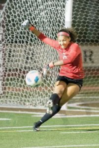 Photo courtesy Eric Danielson Flintridge Sacred Heart goalkeeper Joshlyn Aguirre recorded nine saves and kept the match close.