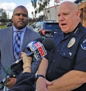 "Photo by Zane Hill / OUTLOOK Police Chief John Incontro (right), shown with SMHS Principal Issaic Gates at a Monday news conference, applauded ""the efforts of the school district and the teamwork we had"" during a precautionary lockdown at the high school."