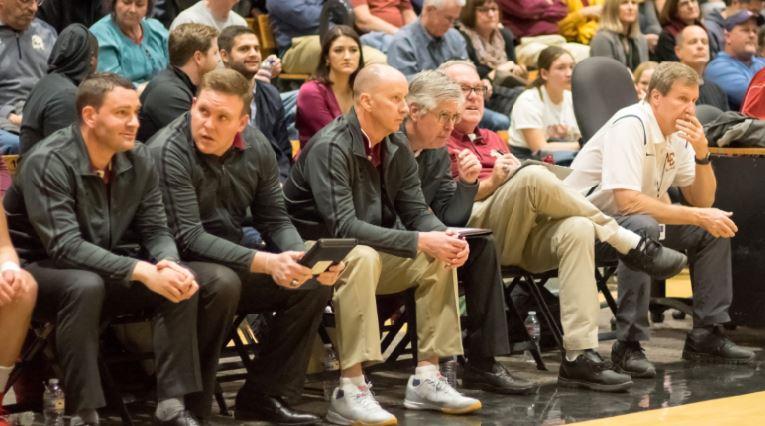 Photo courtesy Eric Danielson The La Cañada High School varsity boys' basketball coaching staff includes assistant coaches Thomas Atamian (from left), R.T. Van Valer, Rich Grande, Ray O'Brien, Jim Harvey and head coach Tom Hofman.