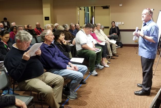 Photo by Zane Hill / OUTLOOK Parks and Public Works Director Michael Throne explains at a town hall meeting this week how he hopes to address select traffic issues in San Marino and solicits ideas from residents.
