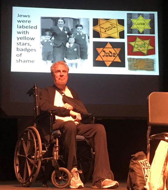 "Photos by Wes Woods II / OUTLOOK Holocaust survivor Leon Prochnik speaks at ""Beyond Fear, Resilience, Resistance and Bravery: Stories of Trauma and Tragedies Through the Holocaust,"" a program held recently at the La Cañada High School Auditorium."