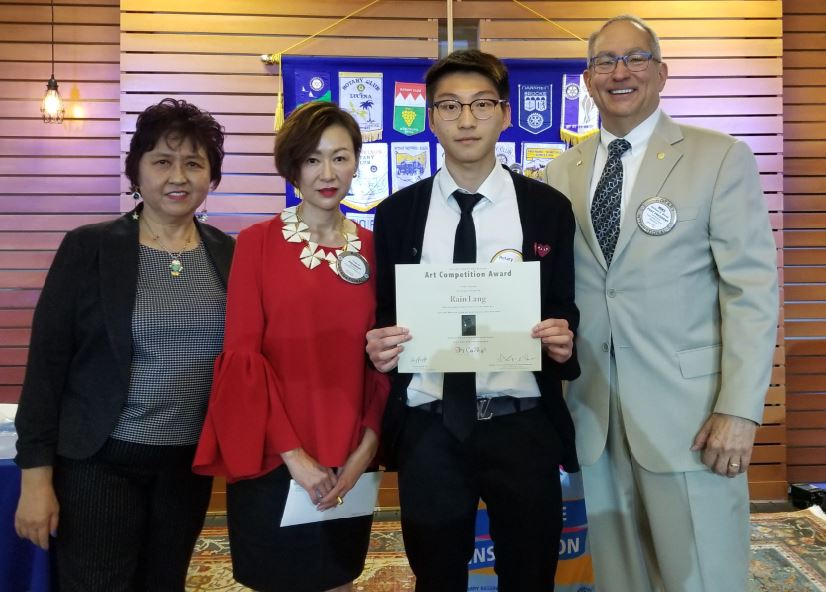 Photo by Zane Hill / OUTLOOK Southwestern Academy student Rain Liang (holding certificate), flanked by Rotary Club of San Marino members Grace Yang, Fang Ho and Mike Driebe, was recognized as this year's Outstanding Artist in the club's student art competition.