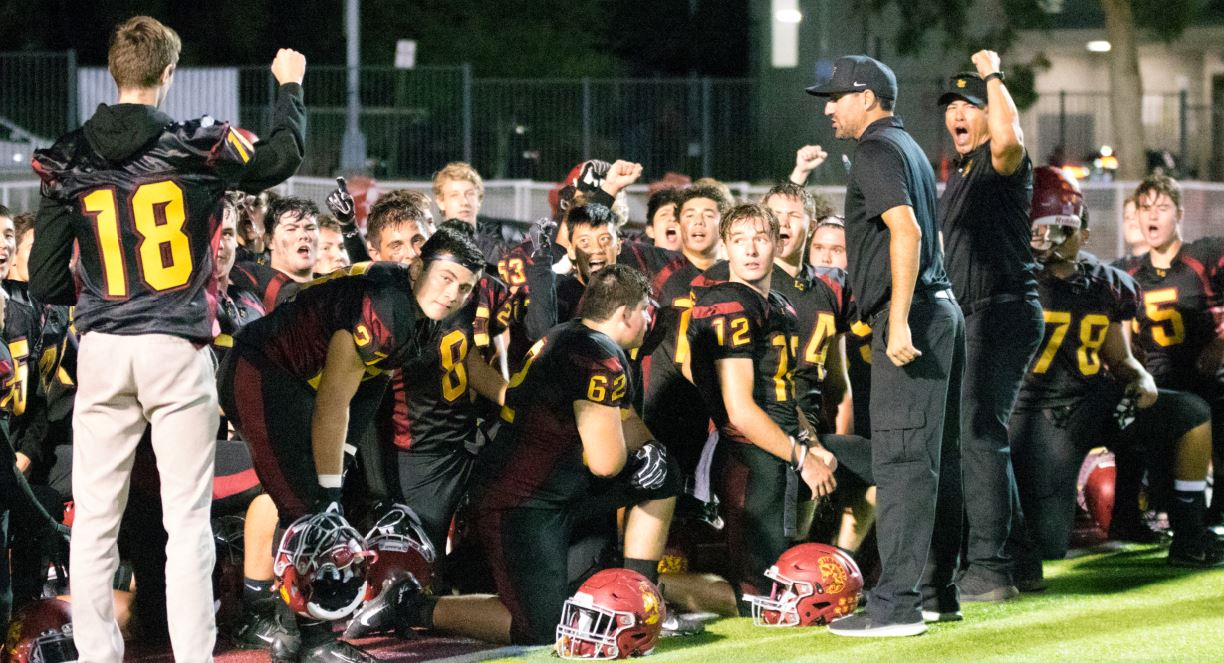 La Cañada head football coach Jason Sarceda is fired up after guiding his team to a 56-42 victory over Temple City on homecoming night last Friday.