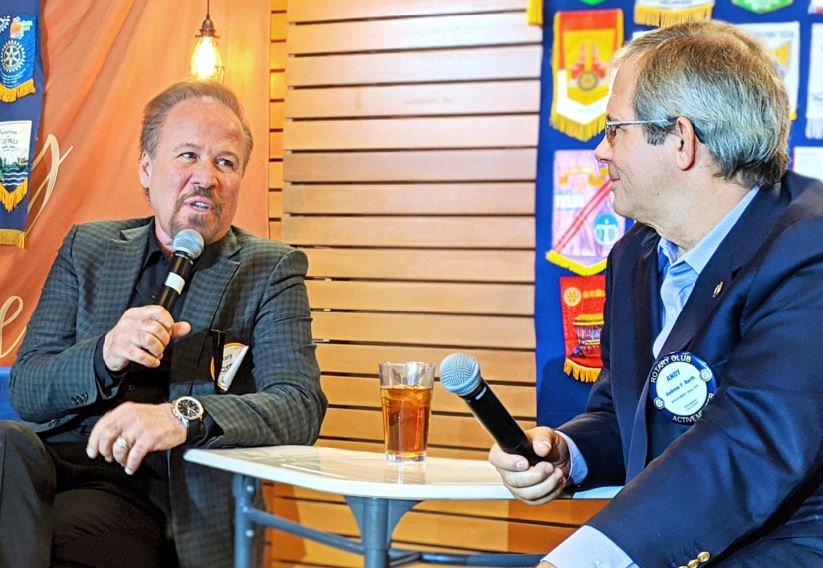 Photo by Zane Hill / OUTLOOK Longtime film production man Craig Darian responds to a question from friend Andy Barth, who used an interview format to make the most of Darian's appearance as guest speaker at Rotary Club of San Marino's luncheon last week.