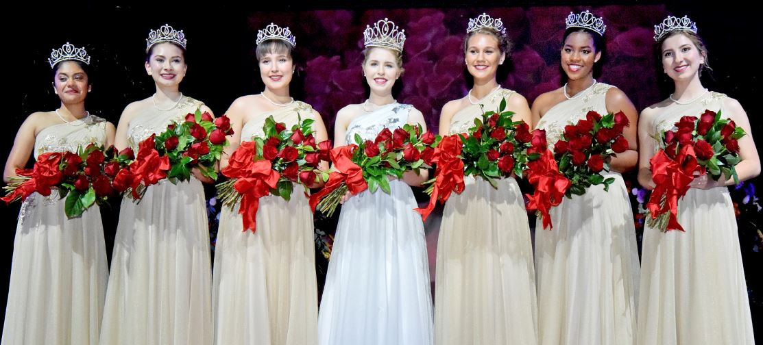 The 2020 Tournament of Roses crowned Queen Camille Kennedy (center) and presented the Royal Court at the Pasadena Playhouse, including (from left) Rukan Saif, Mia Thorsen, Emilie Risha, Reese Rosental Saporito, Michael Wilkins and Cole Fox.