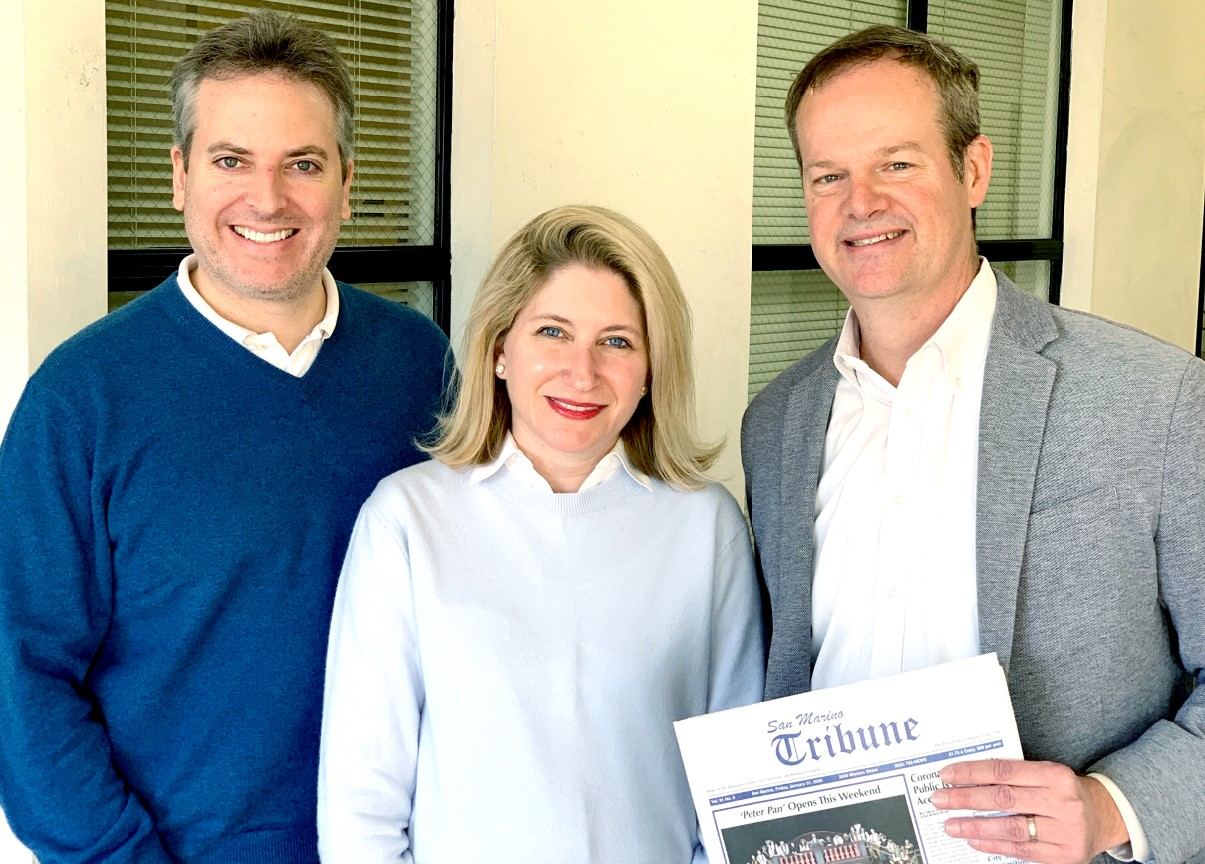 Andy and Carie Salter have sold the San Marino Tribune to Charlie Plowman, publisher of The Outlook.